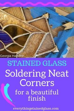 Smooth Seams when Soldering Stained Glass Copper Foil Learn this technique to create neat soldered corners – a beautiful finish for your stained glass art. Broken Glass Art, Shattered Glass, Fused Glass Art, Stained Glass Art, Mosaic Glass, Stained Glass Repair, Mosaic Mirrors, Mosaic Wall, Leaded Glass