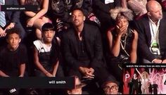 Best photo from the #vmas last night... Will Smith and his children appeared shocked and disgusted by the stage antics of Miley Cyrus.