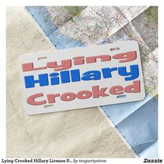 Lying Crooked Hillary License Plate,pink & blue License Plate