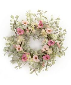 Loving this Pink & Cream Floral Wreath on #zulily! #zulilyfinds