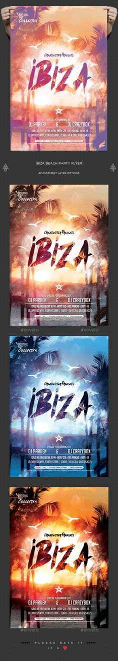 Ibiza Beach Party Flyer — PSD Template #template #coast • Download ➝ https://graphicriver.net/item/ibiza-beach-party-flyer/18371584?ref=pxcr