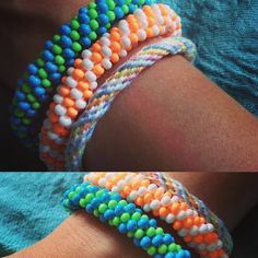 #recyclable glass beads and organic bamboo thread #bamboo #organic #vegan #vegetarian #eco #bio #summer #ontrend #glassbeads #accessories #bracelet #neon #fluo #bracelet #handmade #handmadejewelry #jewellery #musthave #beoriginal #madeinfrance