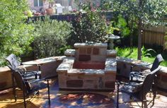 outdoor fire | This custom fire pit is built into the corner to allow for lots of ...
