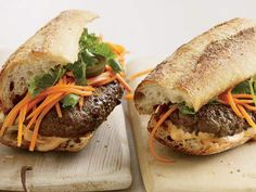 Vietnamese-Style Banh Mi Burgers | Provided By: Food & Wine | Is this an American take on a Vietnamese classic or a Vietnamese take on an American classic - Either way, these spicy burgers topped with Tabasco-spiked mayonnaise, slivers of crunchy pickled carrots and sprigs of cilantro are wonderful. | Via: huffingtonpost.com