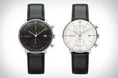 MAX BILL X JUNGHANS CHRONOSCOPE WATCH Combining the beautiful, minimal aesthetics that made the Bauhaus Movement so renowned, with the accurate, automatic mechanical movement of modern watchmaking, the Max Bill x Junghans Chronoscope Watch is a perfect example of old meets new. Conceived by architect, painter, sculptor, and designer Max Bill, these watches feature a stainless steel case, your choice of a white or black dial, a black calfskin strap, and luminous hands.
