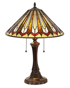 """The Arts & Crafts Julian Stained Glass Table Lamp is 21.70"""" in height. The resin base is 16.30"""" x 6.70"""" with a dark antique bronze finish. The shade is 7.60"""" in height x 16.30"""" wide."""
