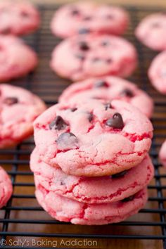 Strawberry chocolate chip cookies (using strawberry cake mix). Pink, food, cookie, chocolate chips, yummy