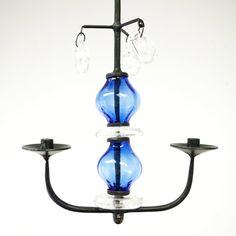 Small blue glass and wrought iron chandelier, Boda. Erik Hoglund.