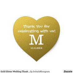 Gold Glitter Wedding Thank You Monogram Heart Sticker