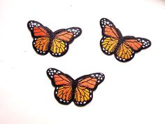Orange iron on butterly patch Iron-on applique Embroidered