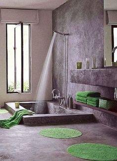 Gris, blanco y verde; cemento alisado!!