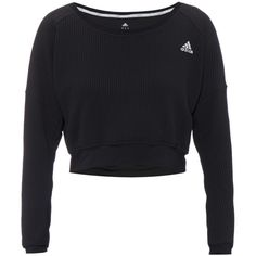 Adidas Cozy cropped hardloopsweater met Climalite ❤ liked on Polyvore featuring activewear, adidas activewear, adidas and adidas sportswear