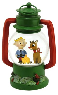 Rudolph the Red-Nosed Reindeer and Hermey lantern figural snow globe from snowdomes.com