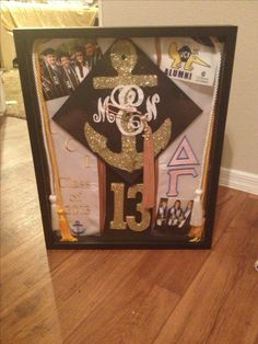 Graduation shadow box. Great way to display your decorated cap, Alpha Xi Delta sash, pictures and the graduation program!