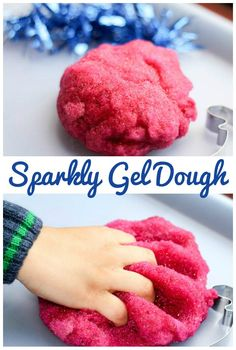 Sparkly gel dough simple and squidgy playdough recipe for sensory play.  Kids Crafts Christmas