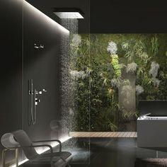 douche pluie, salle de bains déco zen