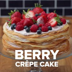 Cake Recipes Berry Crepe Cake This crepe cake made with fresh, locally-sourced berries from W. Delicious Desserts, Dessert Recipes, Yummy Food, Healthy Food, Kreative Desserts, Tasty Videos, Cooking Videos Tasty, Crepe Cake, Crepe Recipes