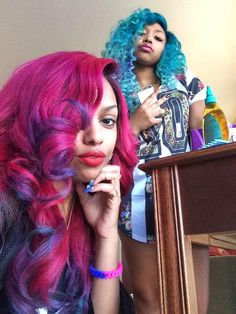 Beauty (pink hair), Star (blue hair)