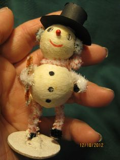 "RARE 1930s 40's Spun Cotton Snowman Christmas Ornament Stamped Japan 3 1 2"" High | eBay"