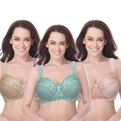 e4f29d35c25d4 Curve Muse Plus Size Unlined Minimizer Wire Free Bra with Embroidery Lace. Curve  Muse combine comfort and sophistication with this set of plus size bras.