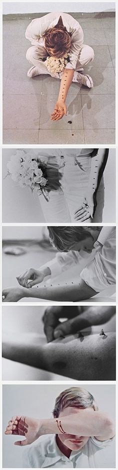Sentimental Action, Gina Pane. In-gallery performance with rose thorns, 1973.