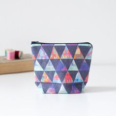 Digitally printed linen pouch with zip. by PixelAndThread on Etsy