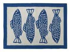 Oceanic Hooked Blue Area Rug