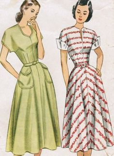 Simplicity 2394 Vintage Sewing Pattern Misses Afternoon Dress, Detachable Cuffs Size 12 Bust Size 14 Bust 32 1940s Dresses, Vintage Dresses, Vintage Outfits, Vintage Clothing, Vintage Sewing Patterns, Clothing Patterns, Dress Patterns, 1940s Fashion, Vintage Fashion
