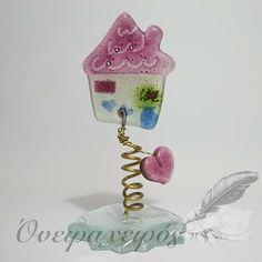 Διακοσμητικό σπιτάκι από γυαλί με καρδιά πάνω σε βάση