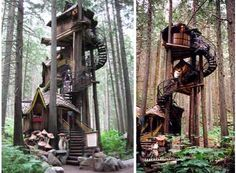 Spiraling staircase and multiple floors in this treehouse <3