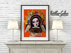 DIGITAL Print File - Virgin of Guadalupe Mexican Folk Art, Instant Art Print, Printable Digital Instant Download, Mexican Art