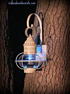 Solar Repurposed Carriage Light…so cute!
