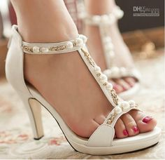 Wholesale Wedding Shoes - Buy Sexy High Heels Rhinestone Beaded Shoes, Fish Head Fine Leather Sandals with Pearls Bridal Accessories Wedding Shoes, $58.8   DHgate
