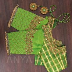 blouse designs Beautifully made zardosi designs, lovely thread work, and intricately woven cutbeads make this blouse a must have! Get yours customized Wedding Saree Blouse Designs, Pattu Saree Blouse Designs, Half Saree Designs, Blouse Designs Silk, Lehenga Blouse, Blouse Patterns, Kids Blouse Designs, Hand Work Blouse Design, Simple Blouse Designs