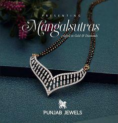 Gold Jewellery Design, Diamond Jewellery, Black Beats, Diamond Mangalsutra, Pendant Design, Necklace Designs, Diamond Pendant, Beaded Jewelry, Diamonds
