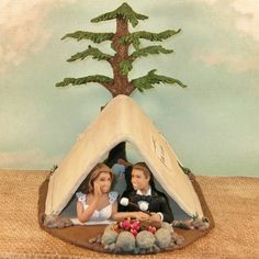 Camping Wedding Cake Topper with Tent Campfire by CakeTopCreations, $350.00 caketopcreations.com