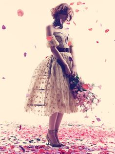 Alexi Lubomirski photographs Karen Elson in 'La Vie En Rose' and Cover of Harper's Bazaar UK, May 2013