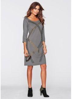 Трикотажное платье с заклепками, bpc selection premium, дымчато-серый