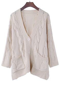 Apricot Plain V-neck Long Sleeve Cotton Blend Cardigan