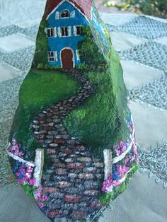 HOUSE ON THE HILL - beautiful hand painted rock art