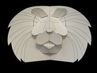 Pop up Lion. Free templates and tutorials for pop up animals on Robert Sabuda's website.