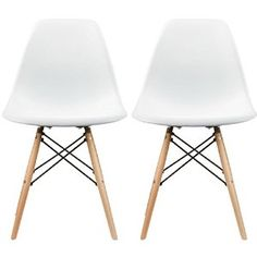 Amazon.com - 2xhome - Set of Two (2) White - Eames Style Side Chair Natural Wood Legs Eiffel Dining Room Chair - Lounge Chair No Arm Arms Armless Less Chairs Seats Wooden Wood Leg Wire Leg Dowel Leg Legged Base Chrome Metal Eifel Molded Plastic - Chairs