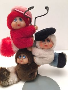 Vintage Trio Of Clip-On Raccoons with Caps Monchhichi Type Doll Hugger