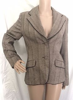 Weekend By Max Mara Brown Tweed Wool Silk Blend Jacket w/Lace Trim Size 10 - EUC #WeekendbyMaxMara #Blazer