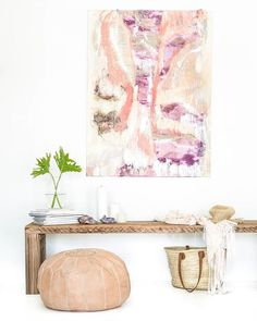 How to turn a solid rustic timber bench into something much softer? Pull together our natural leather pouffe, one of Myee's gorgeous artworks and some pretty accessories and there you have it...you're welcome. :) x #hendrixandharlow