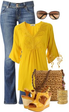 """Yellow Tunic"" by tajarl on Polyvore"