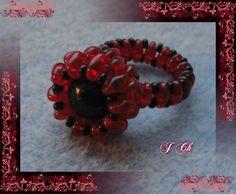 Červený s černou perlou