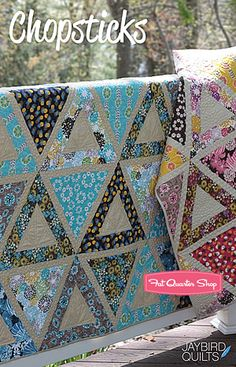 Triangle blocks quilt! How fun. I bet this pattern would look nice in a wide variety of colour schemes. Doesn't look too hard to make either.