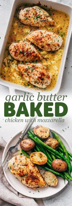 Baked Garlic Butter Chicken with Mozzarella Baked Garlic Butter Chicken with Mozzarella – learn how to bake chicken breasts in a simple garlic butter sauce. Serve with just about anything you like! More from my site Garlic Butter Chicken Baked Garlic Chicken, Baked Chicken Breast, Chicken Breasts, Baked Chicken With Sauce, Chicken Soup, Fried Chicken, Butter Chicken Rezept, Garlic Butter Sauce, Garlic Butter Chicken Breast Recipe