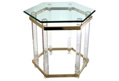 Table Lucite 24x24x23 sold $895wg ... Brass & Lucite Octagonal Table